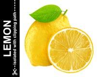 Limone isolato su fondo bianco con il percorso di ritaglio Fotografia Stock Libera da Diritti