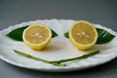 Limone organico e permesso sul piatto bianco con i precedenti grigi Fotografie Stock Libere da Diritti