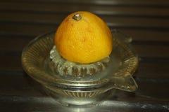 Limone per la spremuta del succo, sul vassoio della latta fotografia stock