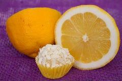Limone siciliano di sapore del tartufo di cioccolato fotografie stock