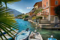 Limone sjö Garda, Italien arkivbilder
