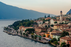 Limone sul Garda, Italy during the sunrise Royalty Free Stock Image