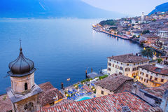 Limone sul Garda, lake Garda, Italy. Panoramic view at blue hour of Limone sul Garda, lake Garda, Italy stock image