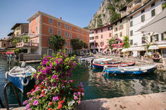 Limone sul Garda is a town in Lombardy on the shore of Lake Gard Stock Photography