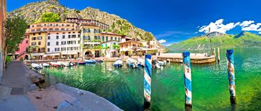 Limone sul Garda turquoise harbor panoramic view. Town on Garda lake in Lombardy, Italy Royalty Free Stock Images