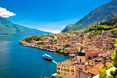 Limone sul Garda waterfront view. Lombardy region of Italy Stock Photos