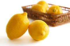 Limones en el blanco Foto de archivo libre de regalías