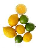 Limones frescos en un fondo blanco Foto de archivo libre de regalías