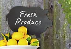 Limones frescos y FRU fresca de la pizarra del menú negro del cerdo Imagen de archivo