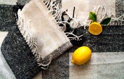 Limones para una bebida sana y de desintoxicación del agua en el verano en una tela escocesa gris en el estilo de Hygge Endecha p imagenes de archivo