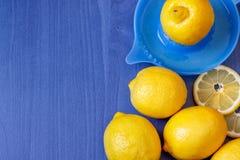 Limones y Juicer Imagen de archivo libre de regalías