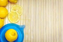 Limones y Juicer Imágenes de archivo libres de regalías