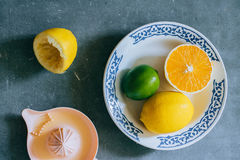 Limoni, calce, arancio in un piatto ceramico bianco Fotografia Stock