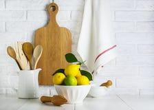 Limoni e limette in una ciotola Immagini Stock Libere da Diritti