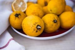 Limoni freschi sul piatto rosso Taglio ed in pieno Tessuto bianco Fotografia Stock