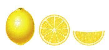 Limoni isolati (complesso) Fotografia Stock