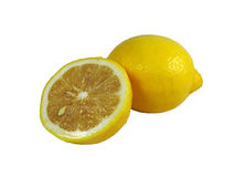 Limoni maturi freschi isolati Fotografia Stock