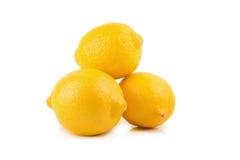 Limoni maturi freschi isolati su fondo bianco Immagini Stock