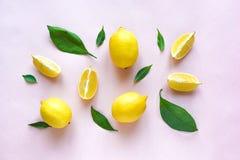 Limoni sul rosa immagine stock libera da diritti