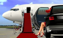 Limousine arrival at the airport with red carpet Royalty Free Stock Photography