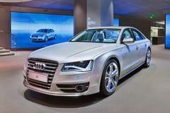 Limousine Audis S8 in einem Ausstellungsraum, Peking, China lizenzfreie stockfotos