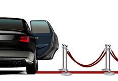 Limousine auf roter Teppich-Ankunft Stockfoto