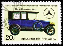 Limousine-Benz, 1909, 60th Anniversary of Mercedes-Benz serie, circa 1986. MOSCOW, RUSSIA - MARCH 23, 2019: Postage stamp printed in Korea shows Limousine-Benz stock images