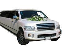 Limousine blanche de mariage d'isolement sur le blanc Photos stock