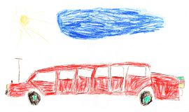 Limousine car original kid's drawing Stock Photography
