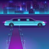 Limousine con un tappeto rosso al vettore di notte davanti al paesaggio urbano della città, metropoli di lusso Immagine Stock