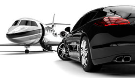 Limousine. 3D render image representing a limousine with a private jet Stock Images