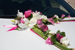 Limousine, decorated with flowers - white and pink Royalty Free Stock Images