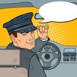 Limousine Driver in Uniform. Chauffeur Saluting Passenger. Pop Art illustration stock illustration