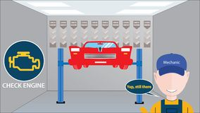 Car service shop with big mechanic avatar in front. Check engine - Yup, still there message. Vector illustration of big car royalty free stock photo