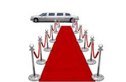 Limousine et tapis rouge Images stock