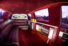 Limousine Interior. Fisheye view of an Excalibur limousine interior Royalty Free Stock Image