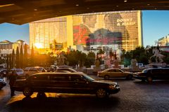 Limousine leaving Caesar's Palace Hotel Royalty Free Stock Image