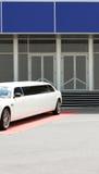 Limousine near office building. White limousine near office building Royalty Free Stock Images