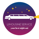 Limousine night service graphic icon sign in round. Royalty Free Stock Photo