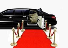Limousine noire dès l'arrivée de tapis rouge Photo libre de droits
