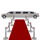 Limousine and red carpet concept, flat design, vector illustration Stock Photography