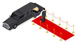 Limousine and Red Carpet Isometric View. Vector Stock Images