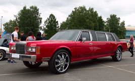 Limousine. Red stretched limousine for celebrities and special events on autoshow. 05/29/2016, St. Petersburg, Russia Royalty Free Stock Photos
