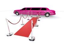 Limousine rose et tapis rouge Image stock
