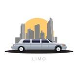 Επίπεδη μεταφορά απεικόνισης σχεδίου διανυσματική, limousine στο sity υπόβαθρο, πλάγια όψη Στοκ Εικόνες