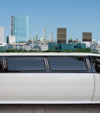 Limousine with skyscrapers on the background Stock Image