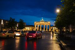 Limousine in street of Berlin Stock Photography