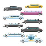 Limousine vector limo luxury car and retro auto transport and vehicle automobile illustration set of automotive Royalty Free Stock Photography