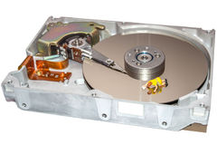 Limpando o disco rígido Uma mulher limpa um HDD Imagens de Stock