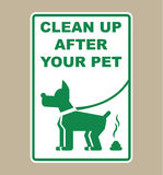 Limpe após seu vetor do sinal do animal de estimação Imagens de Stock